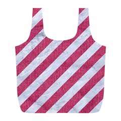 Stripes3 White Marble & Pink Denim (r) Full Print Recycle Bags (l)  by trendistuff