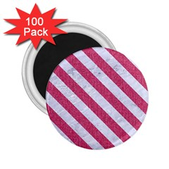 Stripes3 White Marble & Pink Denim 2 25  Magnets (100 Pack)  by trendistuff