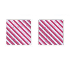 Stripes3 White Marble & Pink Denim Cufflinks (square) by trendistuff