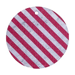 Stripes3 White Marble & Pink Denim Round Ornament (two Sides) by trendistuff