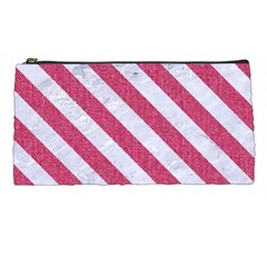 Stripes3 White Marble & Pink Denim Pencil Cases by trendistuff