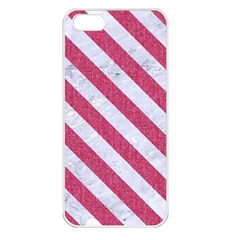 Stripes3 White Marble & Pink Denim Apple Iphone 5 Seamless Case (white) by trendistuff