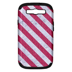 Stripes3 White Marble & Pink Denim Samsung Galaxy S Iii Hardshell Case (pc+silicone) by trendistuff