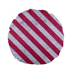 Stripes3 White Marble & Pink Denim Standard 15  Premium Round Cushions by trendistuff