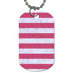 Stripes2white Marble & Pink Denim Dog Tag (two Sides) by trendistuff