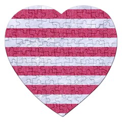Stripes2white Marble & Pink Denim Jigsaw Puzzle (heart) by trendistuff