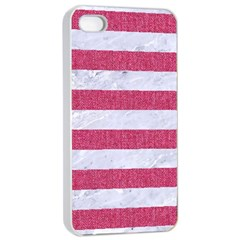 Stripes2white Marble & Pink Denim Apple Iphone 4/4s Seamless Case (white) by trendistuff