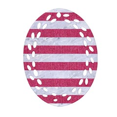 Stripes2white Marble & Pink Denim Oval Filigree Ornament (two Sides) by trendistuff