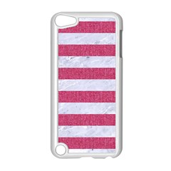 Stripes2white Marble & Pink Denim Apple Ipod Touch 5 Case (white) by trendistuff