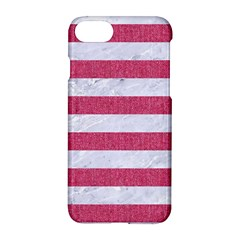 Stripes2white Marble & Pink Denim Apple Iphone 8 Hardshell Case by trendistuff