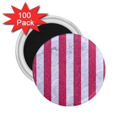 Stripes1 White Marble & Pink Denim 2 25  Magnets (100 Pack)  by trendistuff