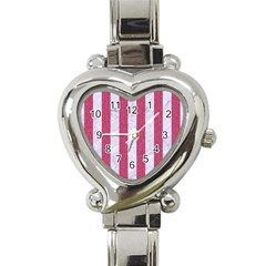 Stripes1 White Marble & Pink Denim Heart Italian Charm Watch by trendistuff