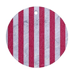 Stripes1 White Marble & Pink Denim Round Ornament (two Sides) by trendistuff