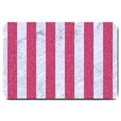 Stripes1 White Marble & Pink Denim Large Doormat  by trendistuff