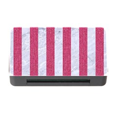 Stripes1 White Marble & Pink Denim Memory Card Reader With Cf by trendistuff