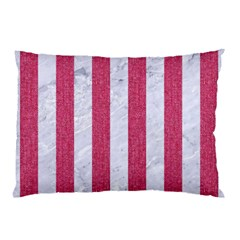 Stripes1 White Marble & Pink Denim Pillow Case (two Sides) by trendistuff
