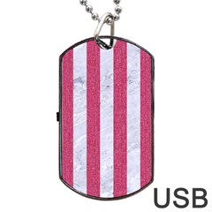 Stripes1 White Marble & Pink Denim Dog Tag Usb Flash (two Sides) by trendistuff