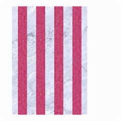 Stripes1 White Marble & Pink Denim Small Garden Flag (two Sides) by trendistuff