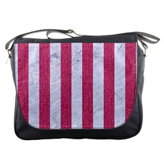 Stripes1 White Marble & Pink Denim Messenger Bags by trendistuff