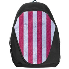 Stripes1 White Marble & Pink Denim Backpack Bag by trendistuff