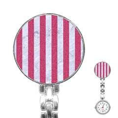 Stripes1 White Marble & Pink Denim Stainless Steel Nurses Watch by trendistuff