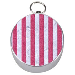 Stripes1 White Marble & Pink Denim Silver Compasses by trendistuff
