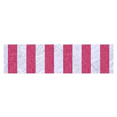 Stripes1 White Marble & Pink Denim Satin Scarf (oblong) by trendistuff