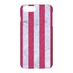 Stripes1 White Marble & Pink Denim Apple Iphone 8 Plus Hardshell Case by trendistuff