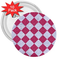 Square2 White Marble & Pink Denim 3  Buttons (10 Pack)  by trendistuff