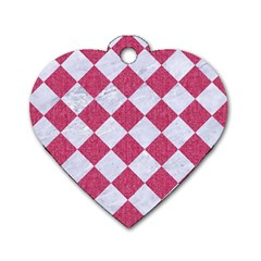 Square2 White Marble & Pink Denim Dog Tag Heart (one Side) by trendistuff