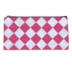 Square2 White Marble & Pink Denim Pencil Cases by trendistuff