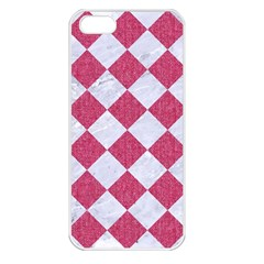 Square2 White Marble & Pink Denim Apple Iphone 5 Seamless Case (white) by trendistuff
