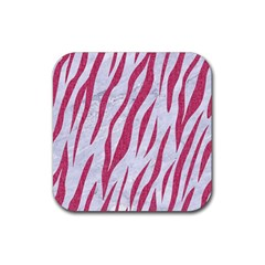 SKIN3 WHITE MARBLE & PINK DENIM (R) Rubber Coaster (Square)