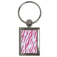 SKIN3 WHITE MARBLE & PINK DENIM (R) Key Chains (Rectangle)