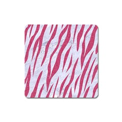 Skin3 White Marble & Pink Denim (r) Square Magnet by trendistuff