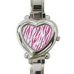 Skin3 White Marble & Pink Denim (r) Heart Italian Charm Watch by trendistuff