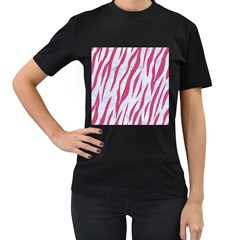 SKIN3 WHITE MARBLE & PINK DENIM (R) Women s T-Shirt (Black) (Two Sided)