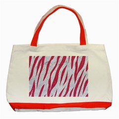 Skin3 White Marble & Pink Denim (r) Classic Tote Bag (red) by trendistuff