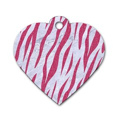 SKIN3 WHITE MARBLE & PINK DENIM (R) Dog Tag Heart (Two Sides)