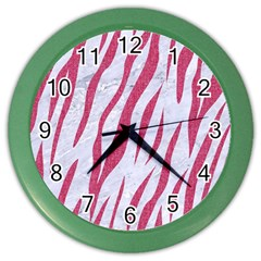 SKIN3 WHITE MARBLE & PINK DENIM (R) Color Wall Clocks
