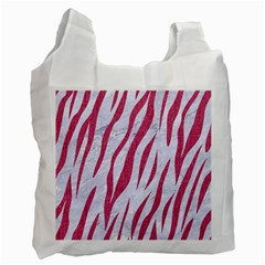 SKIN3 WHITE MARBLE & PINK DENIM (R) Recycle Bag (Two Side)