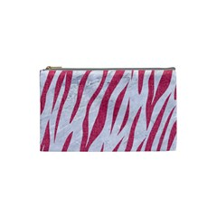 Skin3 White Marble & Pink Denim (r) Cosmetic Bag (small)