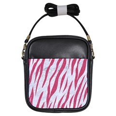 Skin3 White Marble & Pink Denim (r) Girls Sling Bags by trendistuff