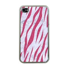 Skin3 White Marble & Pink Denim (r) Apple Iphone 4 Case (clear) by trendistuff