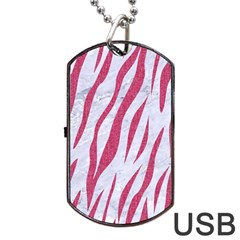 SKIN3 WHITE MARBLE & PINK DENIM (R) Dog Tag USB Flash (Two Sides)