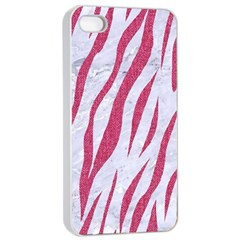 SKIN3 WHITE MARBLE & PINK DENIM (R) Apple iPhone 4/4s Seamless Case (White)