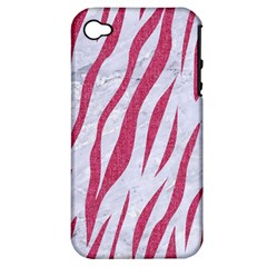 SKIN3 WHITE MARBLE & PINK DENIM (R) Apple iPhone 4/4S Hardshell Case (PC+Silicone)