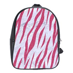 Skin3 White Marble & Pink Denim (r) School Bag (xl) by trendistuff