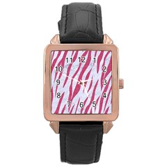 SKIN3 WHITE MARBLE & PINK DENIM (R) Rose Gold Leather Watch