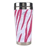 SKIN3 WHITE MARBLE & PINK DENIM (R) Stainless Steel Travel Tumblers Left